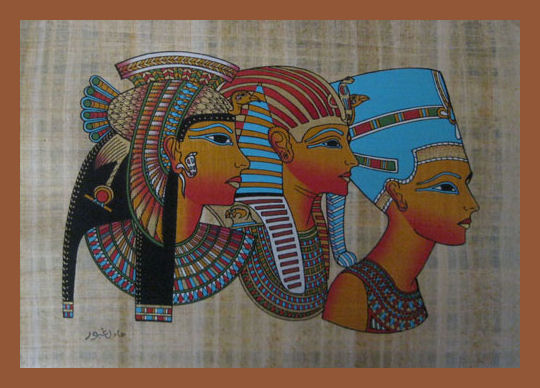 Cleopatra, Tutankamon and Nefertiti papyrus