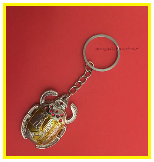Key chain yellow scarab