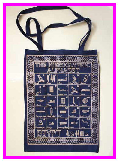 Hieroglyphs alphabet shoulder bag