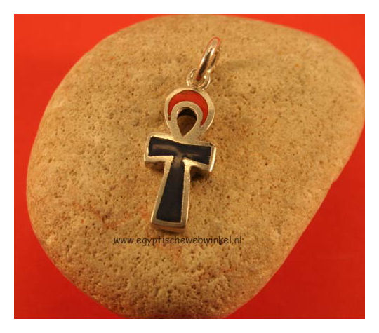 Ankh silver pendant with stones