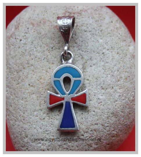 Ankh silver pendant with stones 3